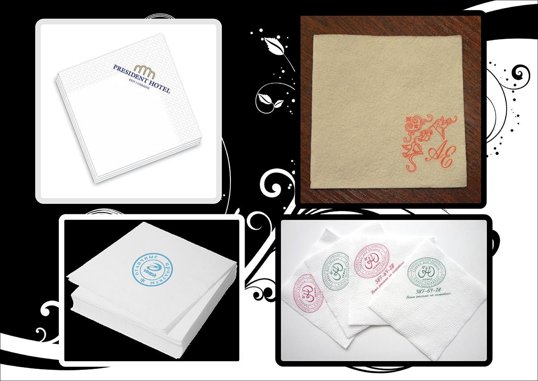 Нанесение логотипов на бумажных салфетках
